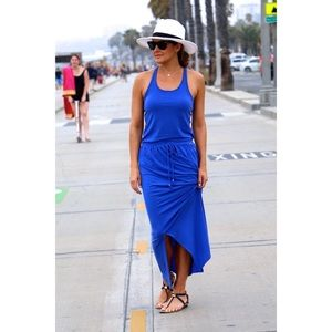 Athleta xs dress cressida maxi racerback slit blue